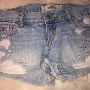 Low-rise Light Wash Hollister Sequined Shorts